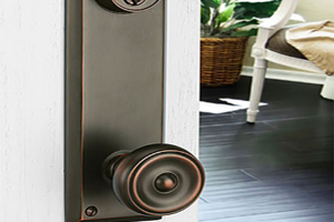 Emtek Hardware Dark Door Handle on White Door