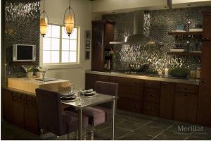 Merillat Dark Cabinets in Kitchen