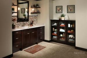Merillat Dark Cabinets in Bathroom