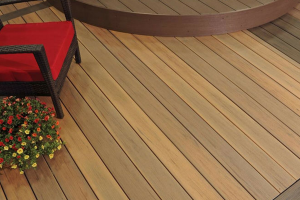 Timbertech Brown Decking with Red Chair