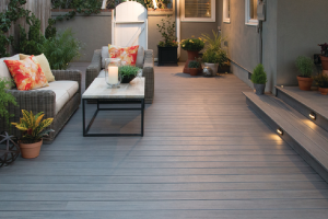 Timbertech Brown Decking With Plants and Chairs