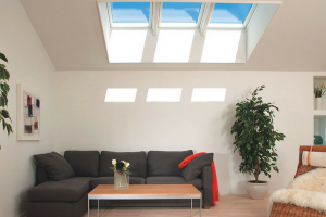 Velux Skylights Grey Couch