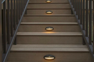 Timbertech Decking Brown Staircase with Lighting